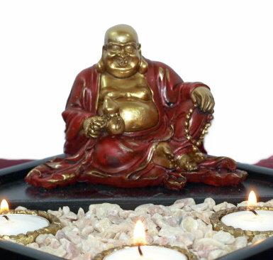 Buddha-Teelichthalter-Kerze-Skulptur-Meditation-Neu