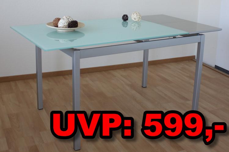 design esstisch tisch glas metall ausziehbar 160x80 neu ebay. Black Bedroom Furniture Sets. Home Design Ideas