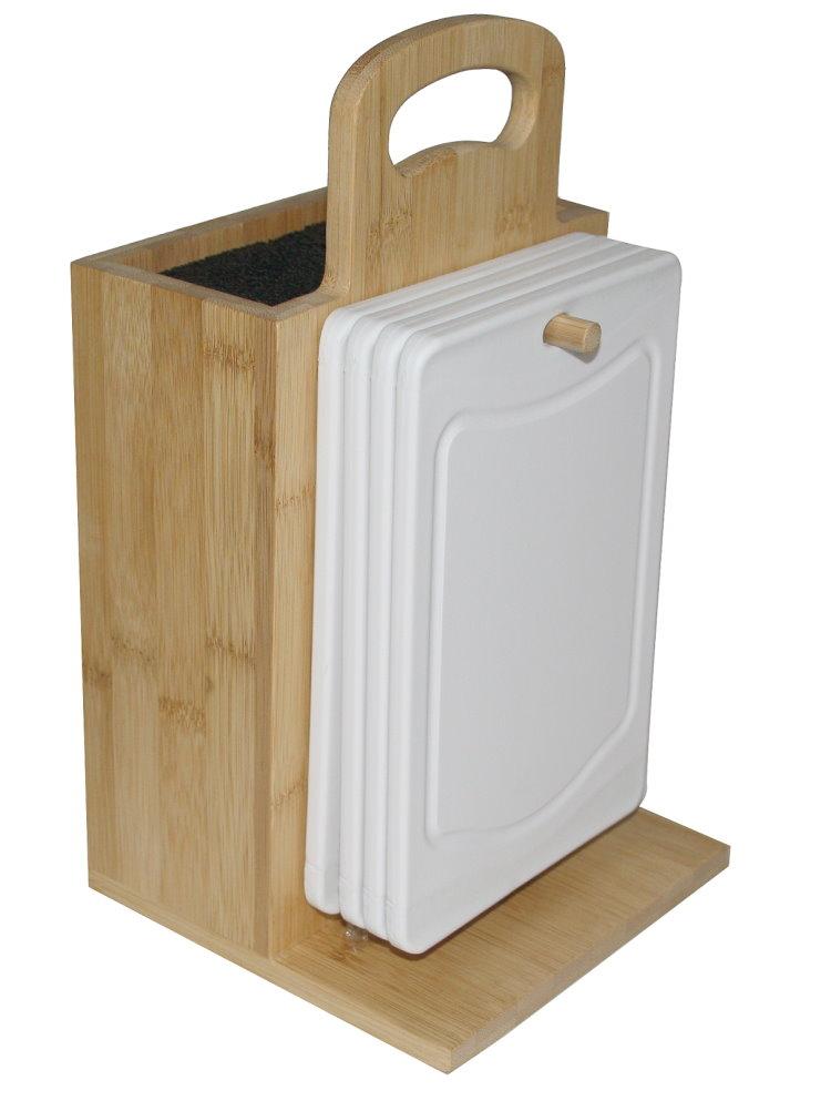 bambus holz messerblock 4x fr hst cksbrett b rste schneidebrett brett wei. Black Bedroom Furniture Sets. Home Design Ideas