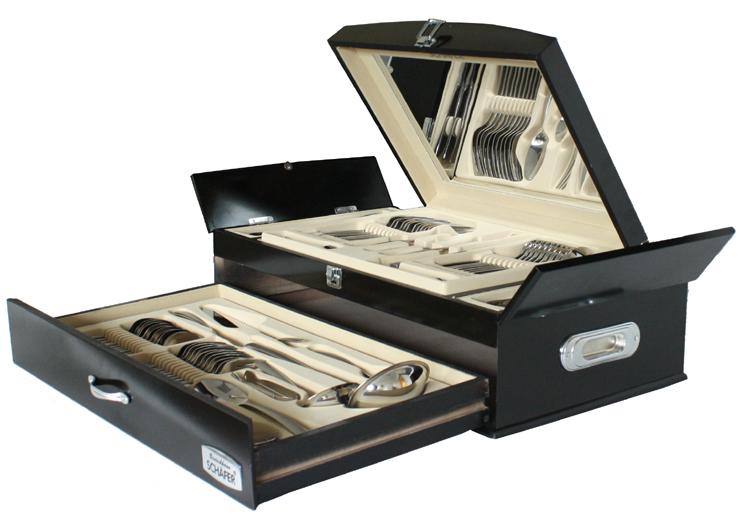 84tl luxus marken besteckset besteck design matt klavierlack truhe neu ebay. Black Bedroom Furniture Sets. Home Design Ideas