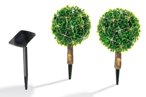 2er set solar buchsbaum kugeln led leuchte lampe lichtkugel garten beleuchtung ebay. Black Bedroom Furniture Sets. Home Design Ideas