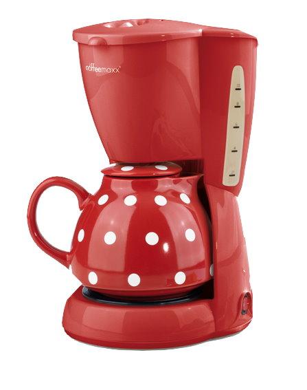 Coffee-Maxx-Keramik-Plus-Kaffeemaschine-Kaffee-Kanne-Puenktchen-Dekor-rot
