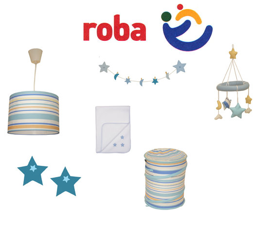 7tlg roba deko kinderzimmer set lampe decke baby mobile dekoration blau ebay. Black Bedroom Furniture Sets. Home Design Ideas