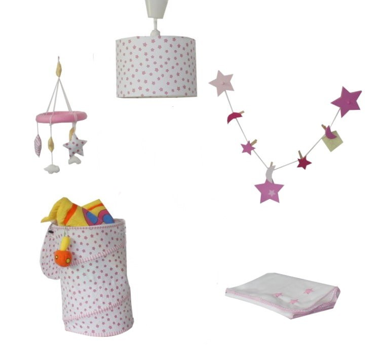 7tlg roba kinderzimmer set sterne lampe mobile kuscheldecke kinderlampe rosa ebay. Black Bedroom Furniture Sets. Home Design Ideas
