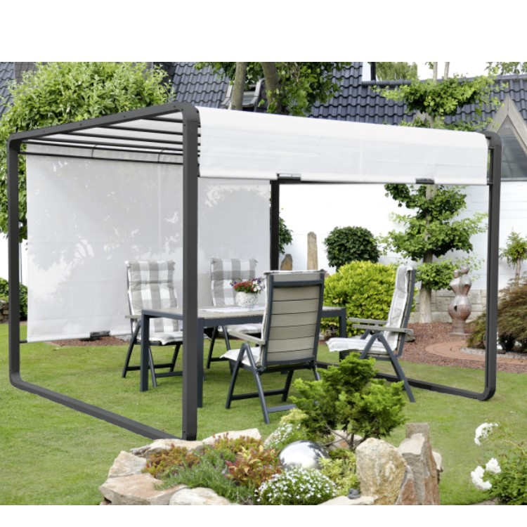 pavillon festzelt partyzelt leco sonnenschutz garten terrasse 3 65 x 3 00 m grau ebay. Black Bedroom Furniture Sets. Home Design Ideas