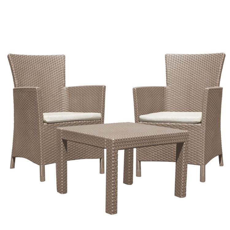 3tlg lounge sitzgruppe miami braun rattan optik garten m bel. Black Bedroom Furniture Sets. Home Design Ideas