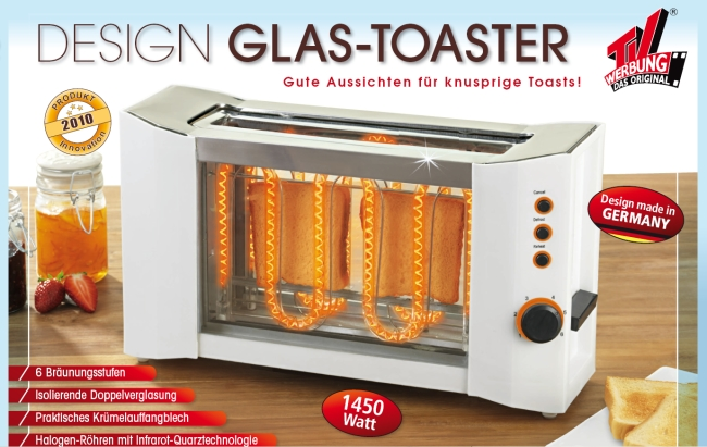 maxx cuisine design glas toaster edelstahl 2 schlitz 1450w mit br tchenaufsatz ebay. Black Bedroom Furniture Sets. Home Design Ideas