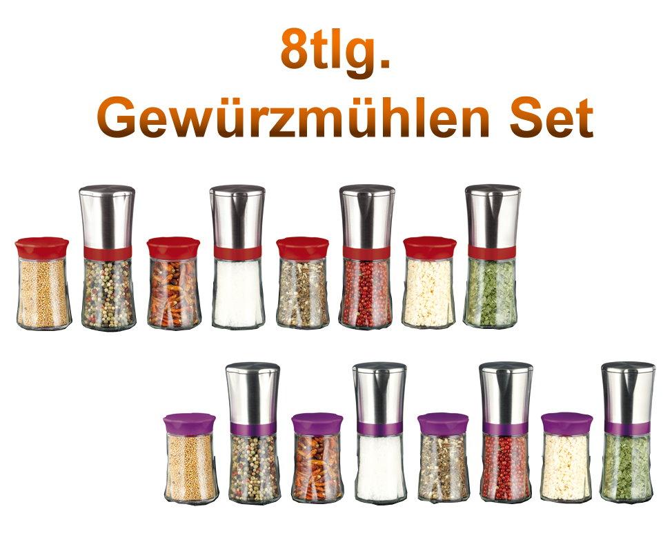 8tlg Maxx Cuisine Gewürzmühlen Set Edelstahl Mühle Keramik ... | {Gewürzmühlen 62}