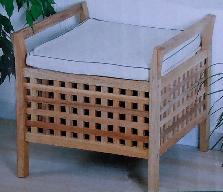kesper badezimmer hocker sitzkissen stauraum w schekorb sitzhocker walnuss ebay. Black Bedroom Furniture Sets. Home Design Ideas