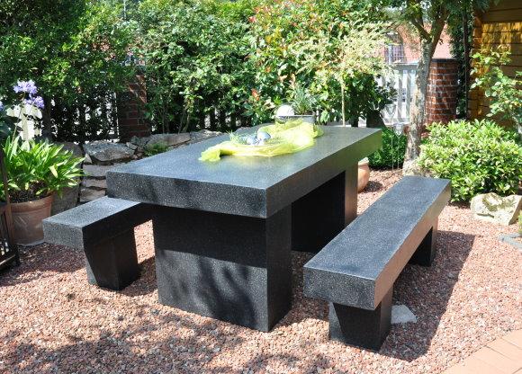 3tlg Leco Granit Optik Sitzgruppe Stone Garten Tisch Bank