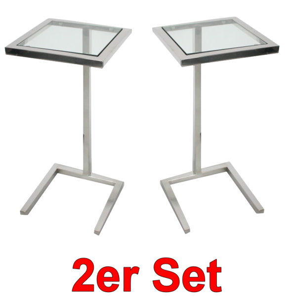 2x asiades square nachttisch beistelltisch glas tisch edelstahl nachtschrank ebay. Black Bedroom Furniture Sets. Home Design Ideas