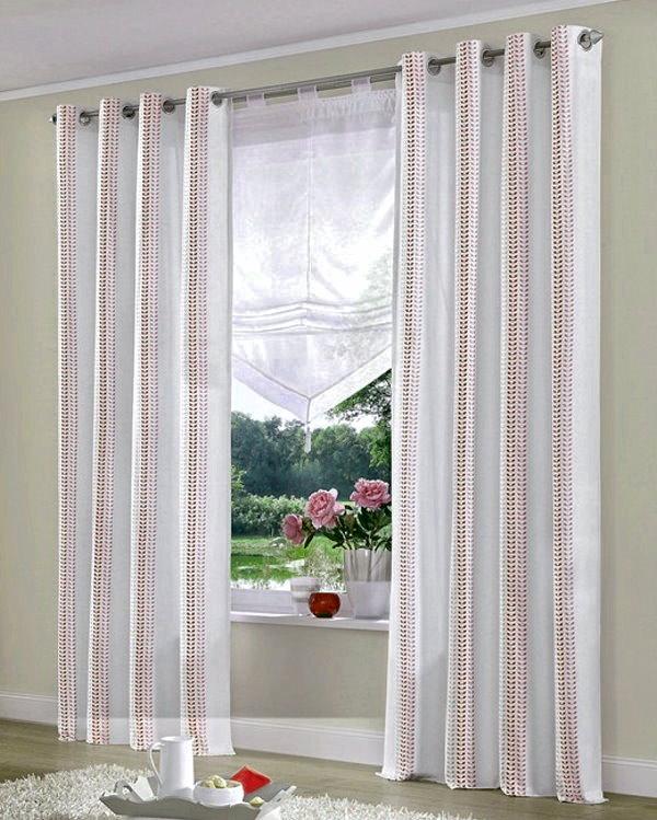 2x vorhang 145x140 fertigdeko sen schlaufen gardine blickdicht weiss braun ebay. Black Bedroom Furniture Sets. Home Design Ideas