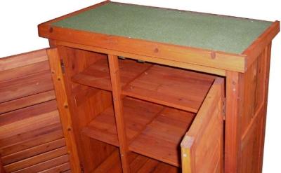 leco gartenschrank ger teschrank garten holz aufbewahrung schrank honigfarben ebay. Black Bedroom Furniture Sets. Home Design Ideas