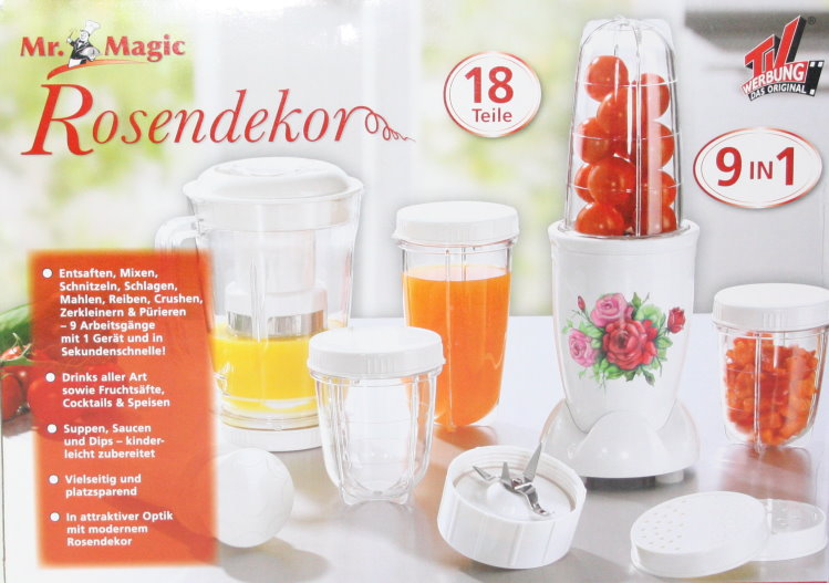 18tlg-Set-Mr-Magic-Kuechenmaschine-Set-9in1-Mixer-Crusher-Entsafter-Rosendekor
