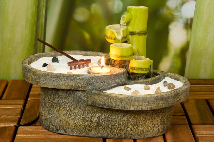 Zimmerbrunnen zimmerspringbrunnen tisch brunnen bambus for Tisch japanisches design