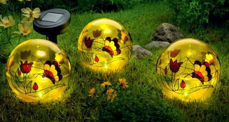 4tlg. Set Solarkugeln Ø15cm Tiffany Garten Leuchte Solar Kugel Lampe Leuchtkugel | eBay