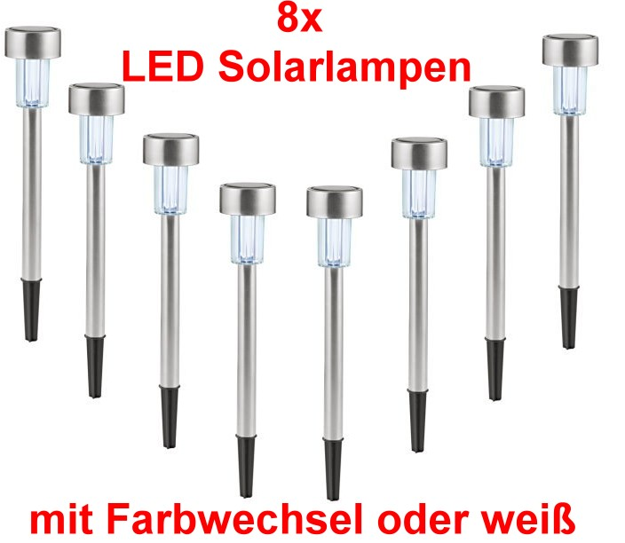 8x led edelstahl solarleuchten fernbedienung farbwechsel solar garten lampe ebay. Black Bedroom Furniture Sets. Home Design Ideas