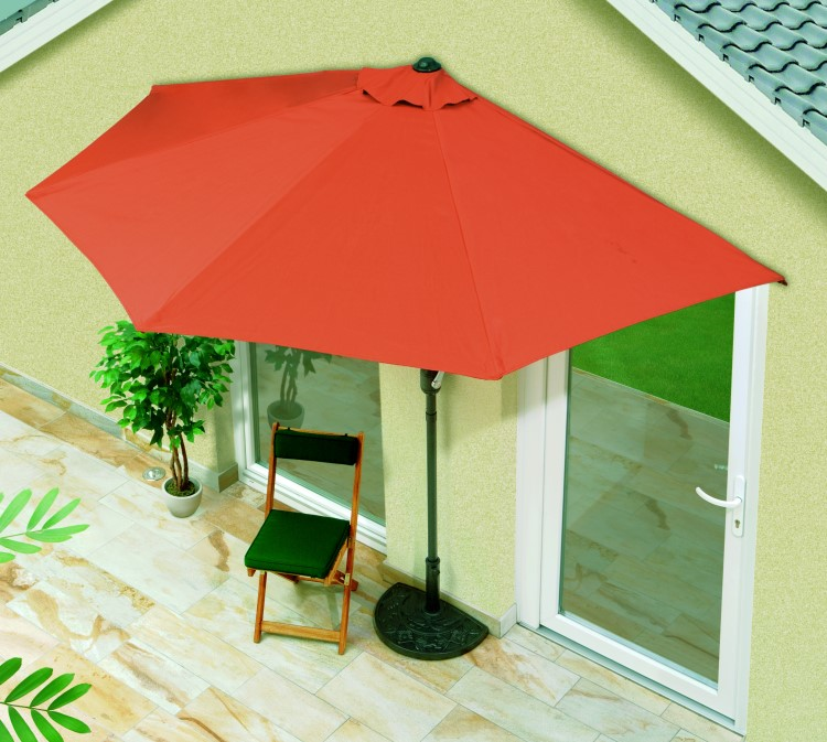 balkon sonnenschirm halbrund kurbel gartenschirm sonnenschutz schirm terracotta ebay. Black Bedroom Furniture Sets. Home Design Ideas