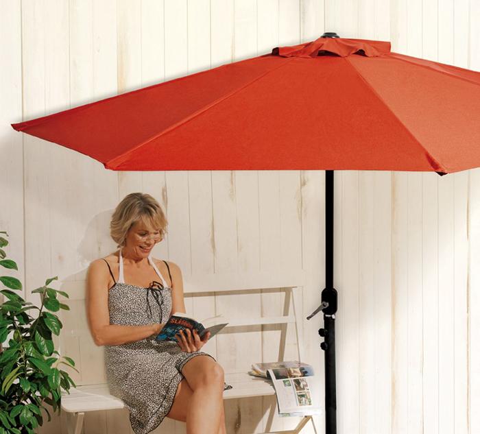 terracotta balkon sonnenschirm halbrund kurbel gartenschirm sonnenschutz schirm ebay. Black Bedroom Furniture Sets. Home Design Ideas