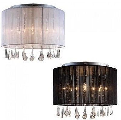 vega deckenlampe 46x35cm deckenleuchte stoff lampe mit. Black Bedroom Furniture Sets. Home Design Ideas