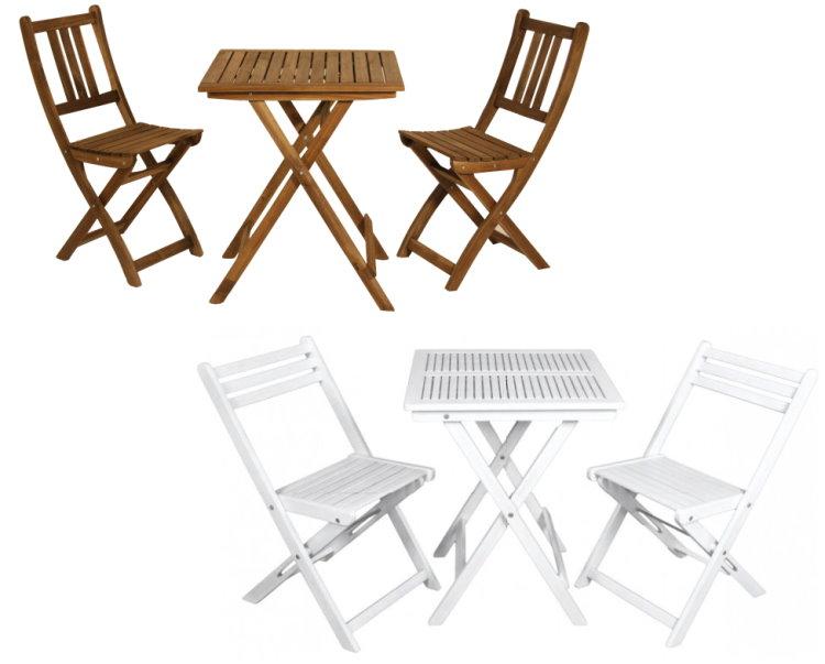 3tlg Akazie Garten Sitzgruppe Tischgruppe Balkon Set Tisch Stuhl