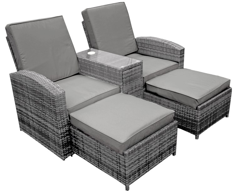 garden pleasure doppelsessel navia garten liege sessel relaxliege rattan optik ebay. Black Bedroom Furniture Sets. Home Design Ideas