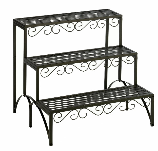 landhaus metall blumentreppe pflanzentreppe blumenregal blumenbank garten balkon ebay. Black Bedroom Furniture Sets. Home Design Ideas