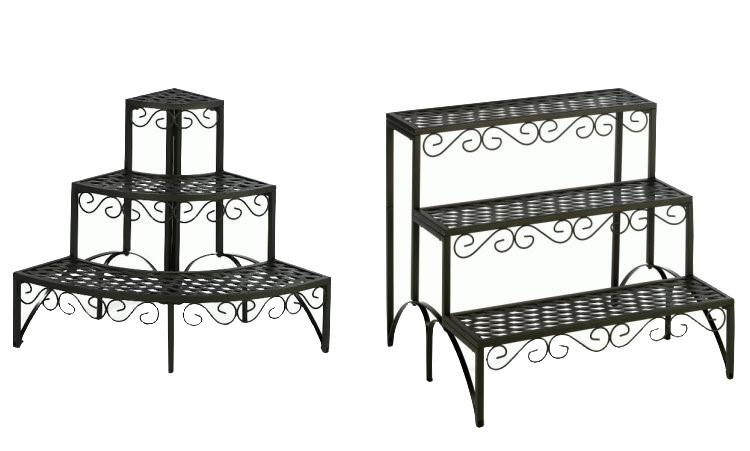 landhaus metall blumentreppe pflanzentreppe blumenregal. Black Bedroom Furniture Sets. Home Design Ideas