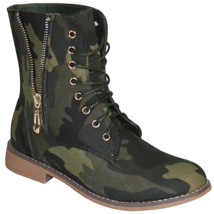 Damen-Boots-Stiefelette-Stiefel-Winterstiefel-Schnuerschuhe-Schuhe-camouflage