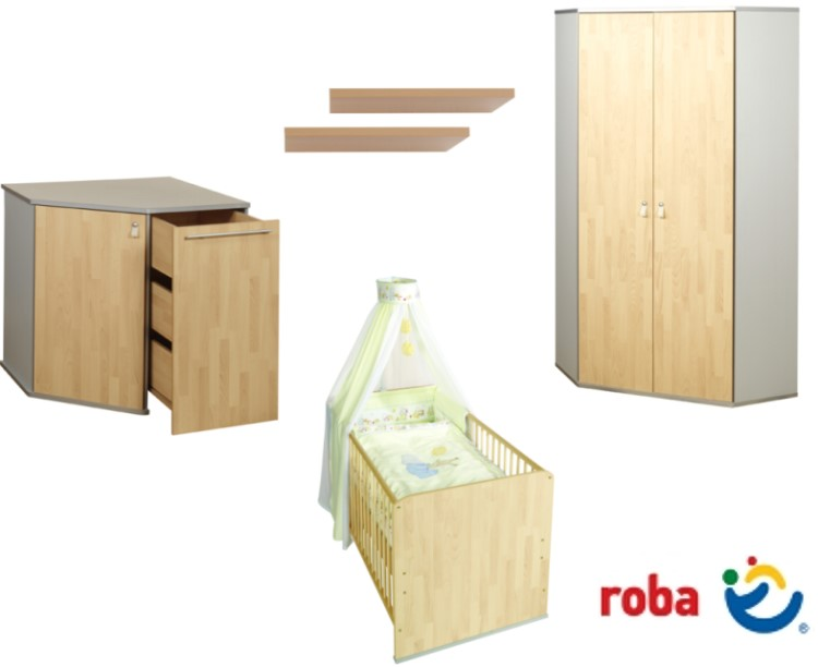 5tlg roba kinderzimmer babyzimmer komplett buche silber ebay. Black Bedroom Furniture Sets. Home Design Ideas