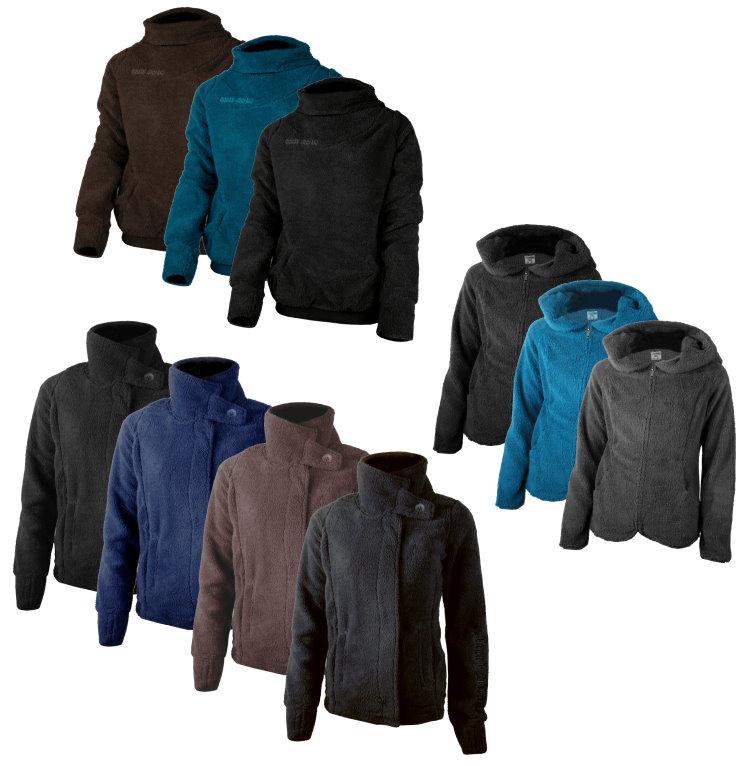 Damen-Teddyfleece-Pullover-Fleece-Jacke-Gr-XS-XL-Sweatjacke-Hoodie-Kapuzenjacke