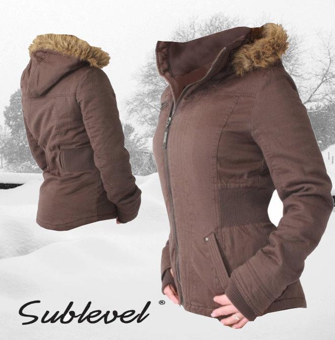 sublevel damen winter parka mantel gr xs xl winterjacke jacke braun ebay. Black Bedroom Furniture Sets. Home Design Ideas