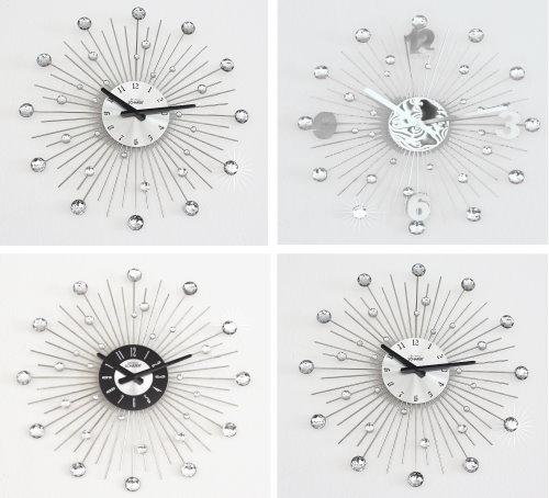 xl designer luxus wanduhr kristall uhr silber 50cm neu ebay. Black Bedroom Furniture Sets. Home Design Ideas