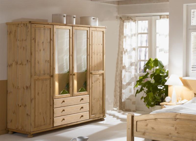 4trg kleiderschrank jan kiefer massiv schrank spiegel ebay. Black Bedroom Furniture Sets. Home Design Ideas