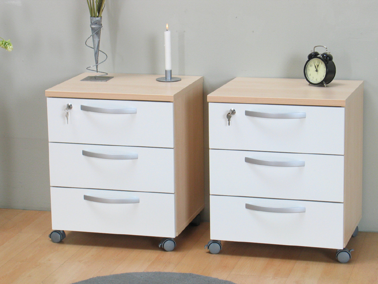2x nachttisch nachtschrank auf rollen ahorn schrank neu ebay. Black Bedroom Furniture Sets. Home Design Ideas