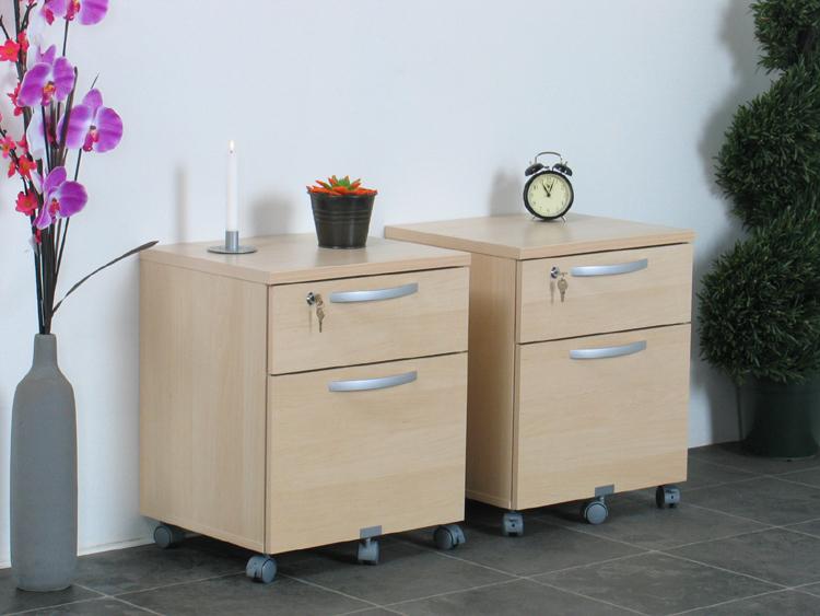 2x nachtschrank mit rollen nachttisch beistelltisch neu ebay. Black Bedroom Furniture Sets. Home Design Ideas