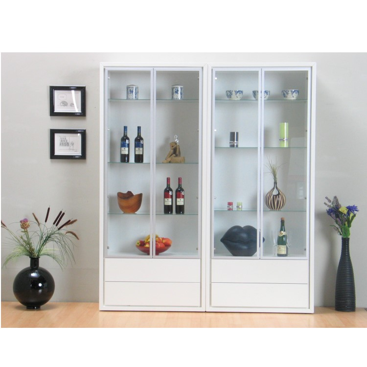 glasvitrine quadra glas vitrine schrank buffet sammelvitrine 1er 2er 3er wei ebay. Black Bedroom Furniture Sets. Home Design Ideas