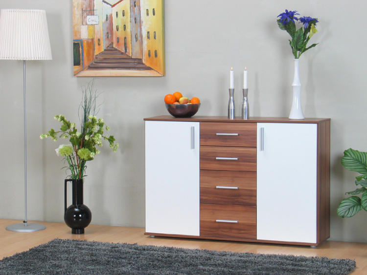 sideboard walnuss dunkel wei schrank mit 2 t ren kommode anrichte neu. Black Bedroom Furniture Sets. Home Design Ideas