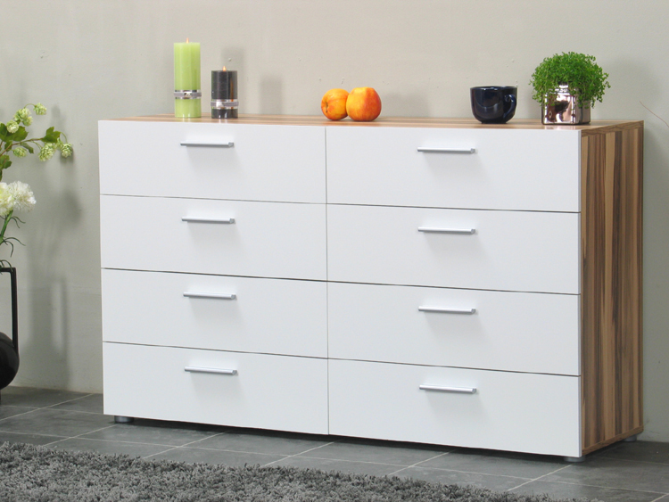 kommode pegasus 8 schubladen sideboard wei walnuss. Black Bedroom Furniture Sets. Home Design Ideas