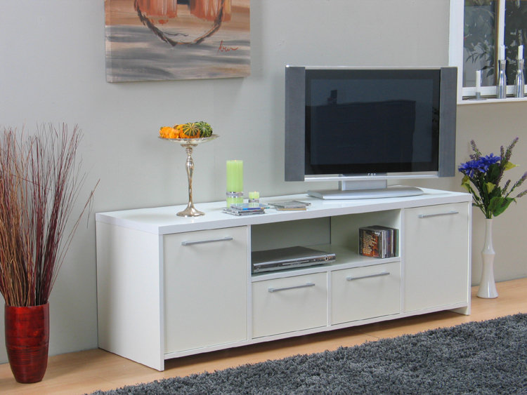 tv tisch hifi m bel schrank lowboard sideboard wei neu ebay. Black Bedroom Furniture Sets. Home Design Ideas
