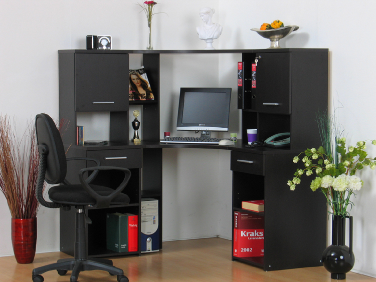 eckschreibtisch mit aufsatz eck computertisch pc tisch schreibtisch kolonial neu ebay. Black Bedroom Furniture Sets. Home Design Ideas