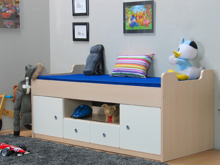 bett 90x200 kinderbett schubladenbett g stebett einzelbett ahorn hell neu ebay. Black Bedroom Furniture Sets. Home Design Ideas