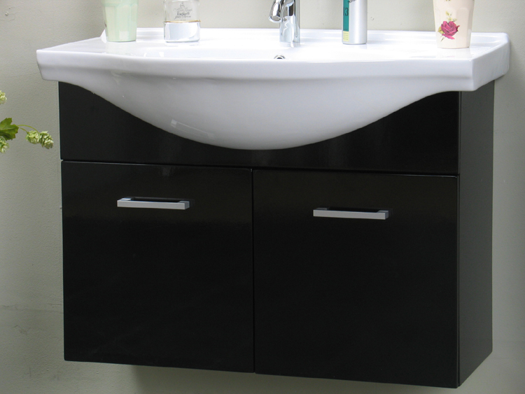 badezimmer salsa waschbecken spiegel hochschrank hochglanz schwarz neu. Black Bedroom Furniture Sets. Home Design Ideas