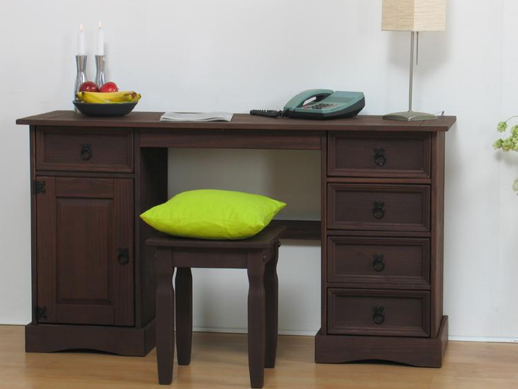 mexico kiefer schreibtisch hocker massiv kolonial neu ebay. Black Bedroom Furniture Sets. Home Design Ideas