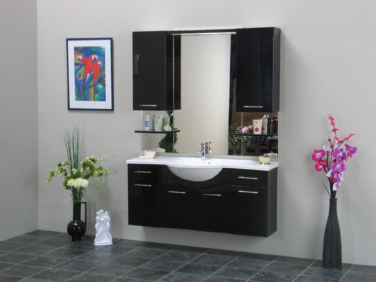 apollo badezimmer set schwarz bad m bel waschbecken spiegel 2 halogenspot trafo ebay. Black Bedroom Furniture Sets. Home Design Ideas