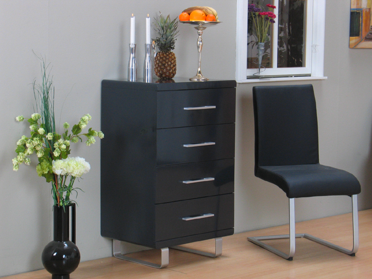pisa schubladen kommode anthrazit hochglanz schrank neu ebay. Black Bedroom Furniture Sets. Home Design Ideas