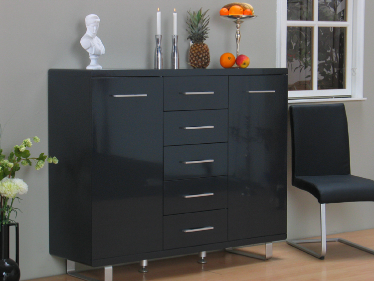 hochglanz pisa highboard schrank kommode anthrazit neu ebay. Black Bedroom Furniture Sets. Home Design Ideas