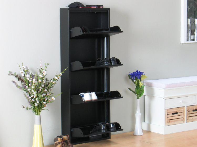schuhschrank plaza schwarz schuhkipper metall schrank ebay. Black Bedroom Furniture Sets. Home Design Ideas