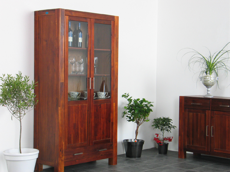 vitrine akazie massiv highboard schrank kolonial neu ebay. Black Bedroom Furniture Sets. Home Design Ideas