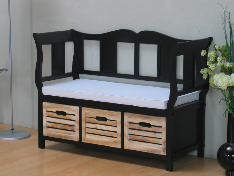 gro e sitzbank schwarz mit 3 k rben bank teil massiv. Black Bedroom Furniture Sets. Home Design Ideas